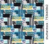 memphis seamless  pattern in... | Shutterstock .eps vector #753660862