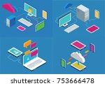 isometric communication concept ...   Shutterstock .eps vector #753666478