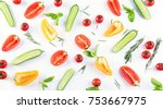 fresh food pattern with... | Shutterstock . vector #753667975