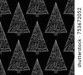 christmas trees pattern.... | Shutterstock .eps vector #753672052