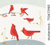 Red Northern Cardinal Birds On...