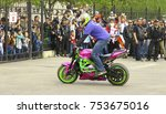 moto free style pilot stunting... | Shutterstock . vector #753675016