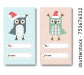 a set of christmas cards ... | Shutterstock .eps vector #753676312