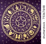Wheel Of Zodiac Symbols Printe...