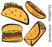 colorful fast food symbols set... | Shutterstock .eps vector #753683722