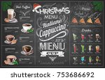 vintage chalk drawing christmas ... | Shutterstock .eps vector #753686692