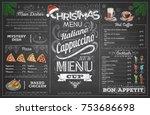 vintage chalk drawing christmas ... | Shutterstock .eps vector #753686698