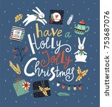 vector winter card with... | Shutterstock .eps vector #753687076