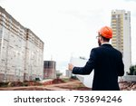 portrait of an architect... | Shutterstock . vector #753694246