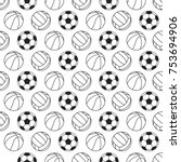seamless pattern with sport... | Shutterstock .eps vector #753694906