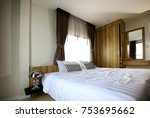 comfortable and convenience bed ... | Shutterstock . vector #753695662
