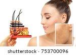 dark spots  freckles... | Shutterstock . vector #753700096