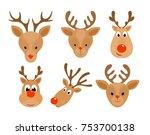 set of christmas deer. head of...   Shutterstock . vector #753700138