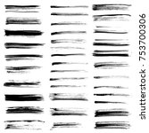 ink vector brush strokes set.... | Shutterstock .eps vector #753700306