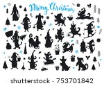 collection of cartoon christmas ... | Shutterstock .eps vector #753701842