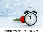 clock with christmas for time... | Shutterstock . vector #753708925
