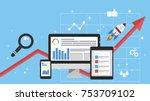 digital marketing  analysis ... | Shutterstock . vector #753709102