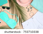 composition with mint clothes... | Shutterstock . vector #753710338