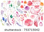watercolor flowers leaves... | Shutterstock . vector #753715042