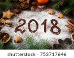 New Year 2018 Written On Flour...