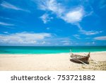 beach and fishing boat  koh... | Shutterstock . vector #753721882