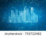 abstract blue polygonal city... | Shutterstock . vector #753722482