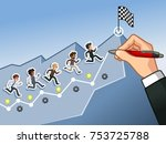 hand drawing a line leading to... | Shutterstock .eps vector #753725788
