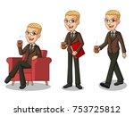 set of blonde businessman in... | Shutterstock .eps vector #753725812