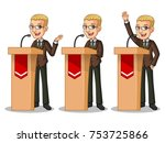 set of blonde businessman in... | Shutterstock .eps vector #753725866