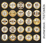 golden sale frame badge and... | Shutterstock .eps vector #753726826