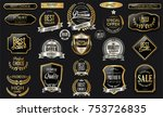 golden sale frame badge and... | Shutterstock .eps vector #753726835