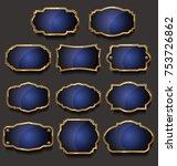 golden sale frame badge and... | Shutterstock .eps vector #753726862