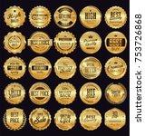 golden sale frame badge and... | Shutterstock .eps vector #753726868
