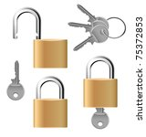 padlock set with keys | Shutterstock .eps vector #75372853