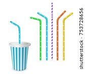 drinking striped and colorful... | Shutterstock .eps vector #753728656
