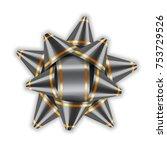 silver bow ribbon decor element ... | Shutterstock .eps vector #753729526