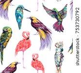 tropical seamless vector... | Shutterstock .eps vector #753730792