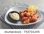 plate with bacon wrapped... | Shutterstock . vector #753731245