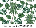 palm trees  tropical leaves ... | Shutterstock .eps vector #753731512