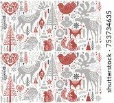 cute christmas pattern in...   Shutterstock .eps vector #753734635