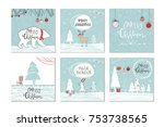 set of 6 cute christmas gift... | Shutterstock .eps vector #753738565