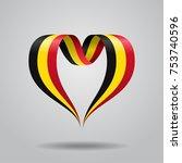 belgian flag heart shaped wavy...   Shutterstock .eps vector #753740596