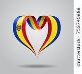 moldovan flag heart shaped wavy ...   Shutterstock .eps vector #753740686