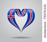 icelandic flag heart shaped... | Shutterstock .eps vector #753741142