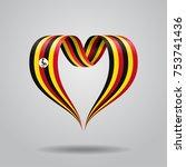 ugandan flag heart shaped wavy...   Shutterstock .eps vector #753741436