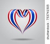 thai flag heart shaped wavy... | Shutterstock .eps vector #753741505