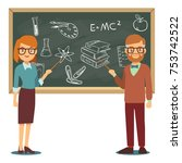 male and female teachers... | Shutterstock .eps vector #753742522