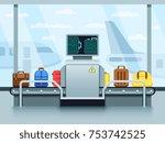 airport conveyor belt with... | Shutterstock .eps vector #753742525