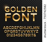 Golden Glossy Vector Font Or...