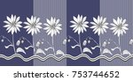 seamless floral border with... | Shutterstock .eps vector #753744652